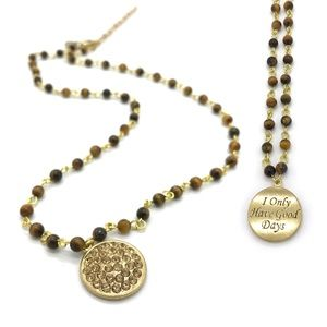 Empowerment Positive Message Gold Beaded Necklace